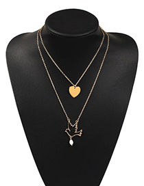 Fashion Gold Alloy Love Bird Double Layer Necklace
