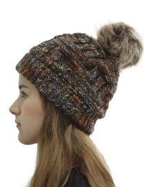 Fashion Coffee Flower Knitted Hat With Hair Ball