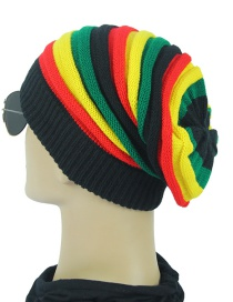 Fashion Yellow Green Striped Wool Cap