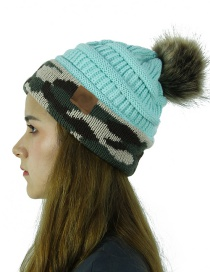 Fashion Blue Cc Camouflage Ball Knit Wool Hat