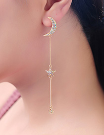 Fashion Gold Diamond S925 Sterling Silver Star Moon Asymmetrical Earrings