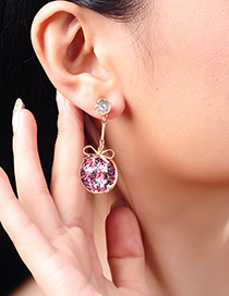 Fashion Round Gold S925 Sterling Silver Geometric Love Earrings
