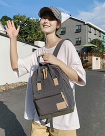 Fashion Gray Canvas Ribbon Splicing Backpack