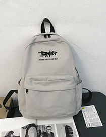 Fashion Gray Text Embroidery Canvas Backpack