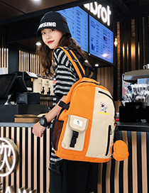 Fashion Orange Contrast Stitching Mars Adventure Print Backpack