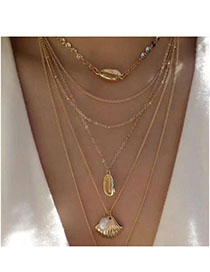 Fashion Gold Alloy Pearl Shell Multi-layer Necklace