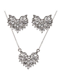 Fashion Silver Alloy Diamond Love Necklace Stud Earring Set
