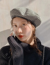 Fashion Little Thousand Bird Beret Black Pu Edging Houndstoe Beret