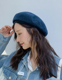 Fashion Four Pieces Of Coarse Gray Dark Green Checkered Beret