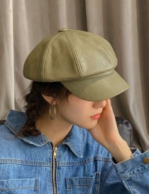 Fashion Light Board Pu Octagonal Green Pu Leather Thin Beret