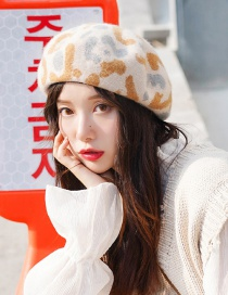 Fashion Leopard Beret Beige Wool Beret
