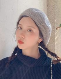 Fashion Pinstripe Wool Khaki Two-tone Pinstriped Knit Wool Beret