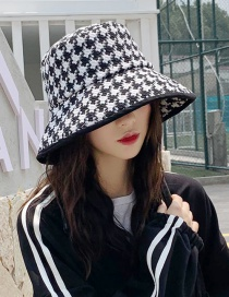 Fashion Wrapped Houndstooth Black Rough Plaid Fisherman Hat