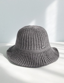 Fashion Chenille With Gray Chenille Knit Elastic Fisherman Hat
