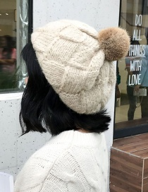 Fashion Wool Hair Ball Bere Beige Rabbit Hair Ball Knit Plaid Wool Cap