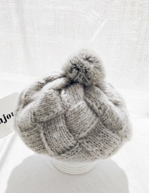 Fashion Wool Hair Ball Bailey Gray Rabbit Hair Ball Knit Plaid Wool Cap