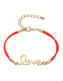 Fashion Pu Red Alloy Letter Love Braided Bracelet