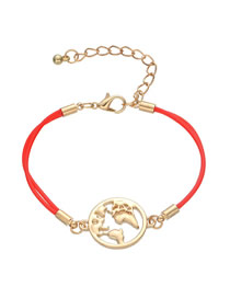 Fashion Pu Red Alloy Map Bracelet