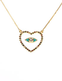 Fashion White Eye Micro-inlaid Colored Diamond Drop Oil Love Necklace