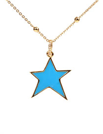 Fashion Blue Micro-set Diamond Drop Pentagram Necklace