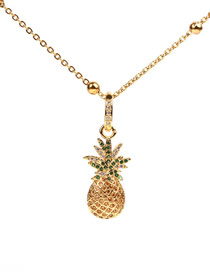Fashion Gold Pineapple Micro Inlaid Zircon Necklace