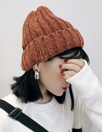 Fashion Chenille Thick Caramel Chenille Knit Hat