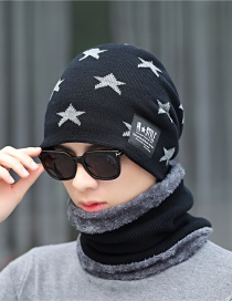 Fashion Black Knitted Wool Bib Hat Two-piece