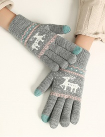 Fashion Gray Fawn Christmas Plus Velvet Knitted Wool Touch Screen Gloves
