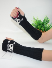 Fashion Black Long-sleeved Half-finger Gloves
