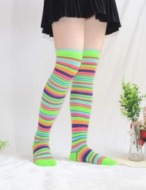 Fashion Green Camouflage Striped Stockings