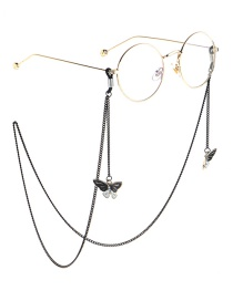 Fashion Black Hanging Neck Butterfly Chain Glasses Chain