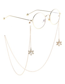 Fashion Gold Metal Christmas Pearl Snowflake Glasses Chain