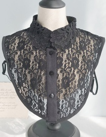 Fashion Lace Flowers D Black Flower Lace Fake Collar  Polyester