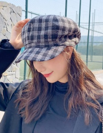 Fashion Four-line Dark Gray Plaid Beret  Polyester Cotton