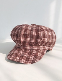 Fashion Four-line Wine Red Plaid Beret  Polyester Cotton