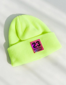 Fashion 23 Labeling Fluorescent Yellow Pointed 23 Labeling Knitted Wool Cap  Wool