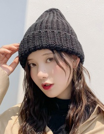 Fashion Large Blend Black Knitted Wool Cap  Wool