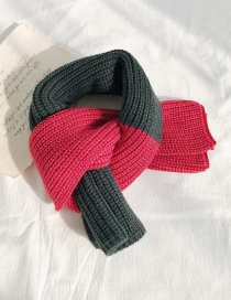 Fashion Two-color Stitching Dark Green + Rose Red Stitched Two-tone Knit Short Scarf  Wool