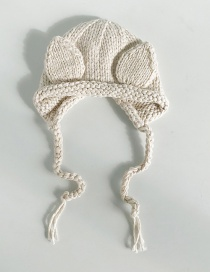 Fashion Stereo Ear Beige Knitted Baby Hat