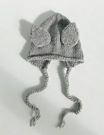 Fashion Stereo Ear Gray Knitted Baby Hat