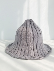 Fashion Wide Strip Knit Light Gray Striped Knit Wool Hat