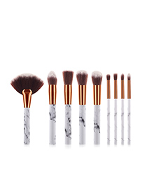 Fashion White 9-pack Marble Makeup Brush