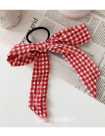 Fashion Red Plaid Fabric Bow Streamer Hairline