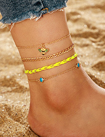 Fashion Gold Bee Multi-layer Gold Bead Sapphire Wire Anklet 4 Piece Set