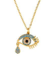 Fashion Eye Eye Tear Zircon Necklace