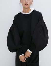 Fashion Black Splicing Super-sleeve Sweater