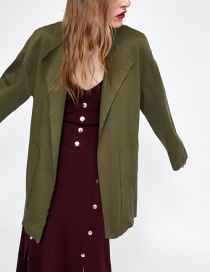 Fashion Armygreen Stitching Coat