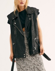 Fashion Black Medium And Long Locomotive Zipper Leather Vest