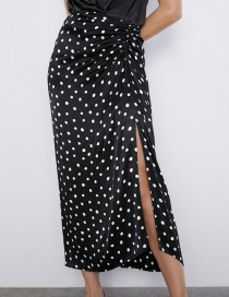 Fashion Black Polka Dot Silk Satin Skirt
