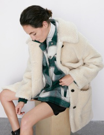 Fashion Creamy-white Fleece Coat Coat